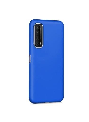 Microsonic Matte Silicone Huawei P Smart 2021 Kılıf Mavi